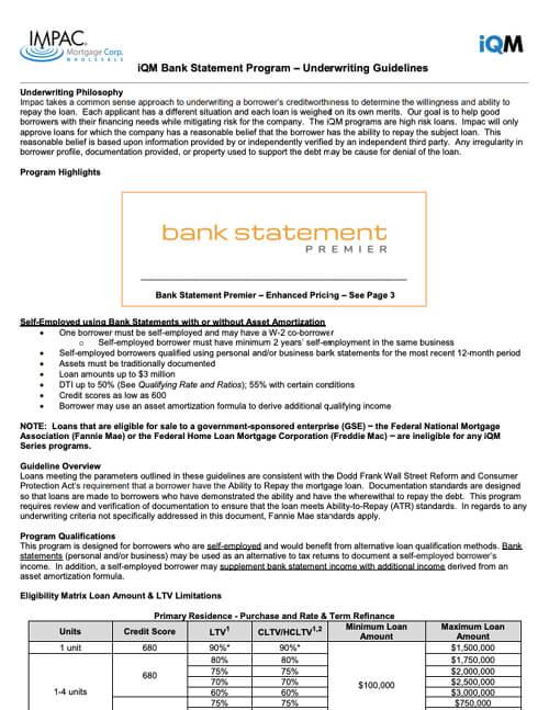 Non-QM Bank Statement Guidelines Thumbnail