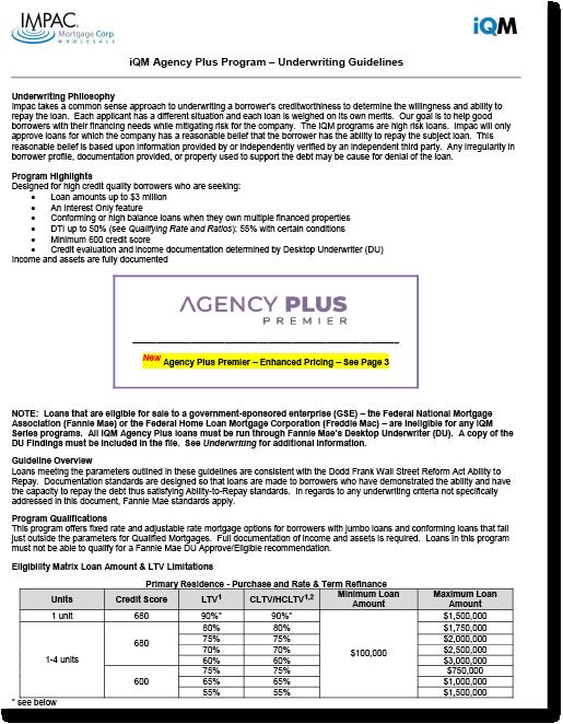 Non-QM Agency Plus Program Guidelines Thumbnail
