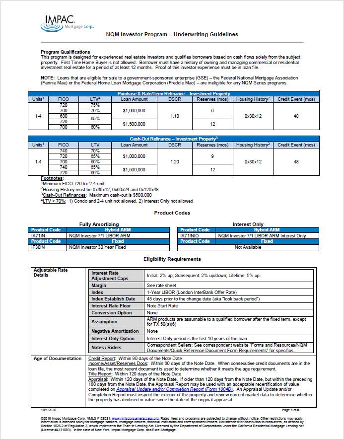 Non-QM Investor Program Guidelines Thumbnail